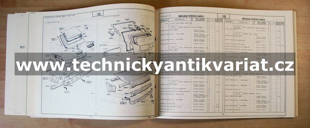 Toyota Corolla, Trueno - Quick reference parts catalog (1982)