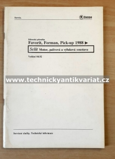 Škoda Favorit Forman, Pick-up - Motor - dílenská příručka (1992)